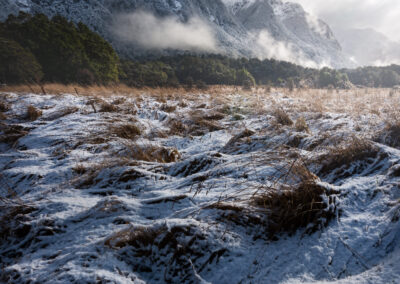 Snow covered mountain scene, Fiordland.