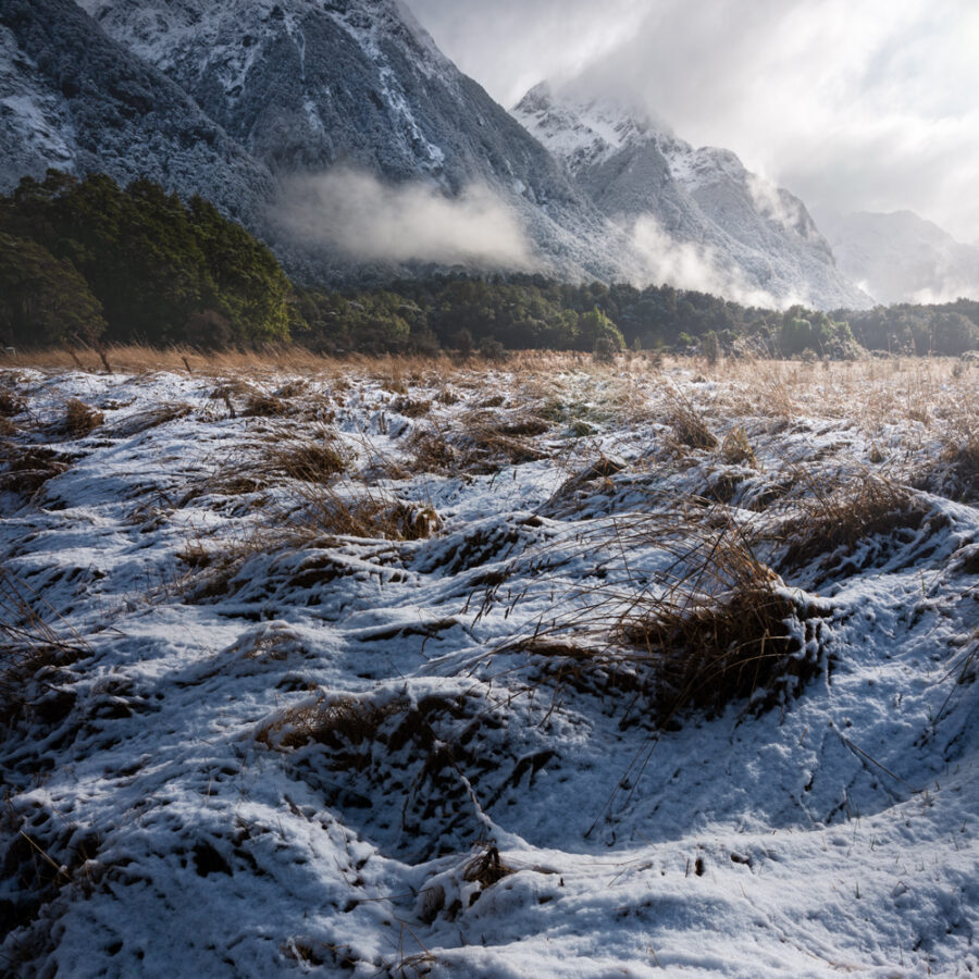 Snow covered mountain scene, Fiordland.