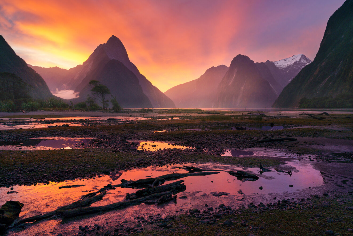 Sunset, Milford Sound New Zealand