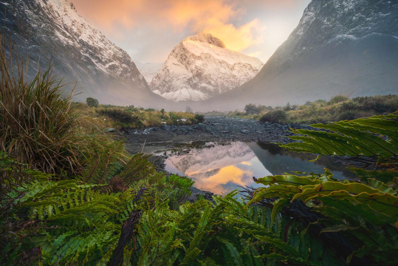 Sunrise light, Mt Talbot Fiordland. Photography by William Patino.
