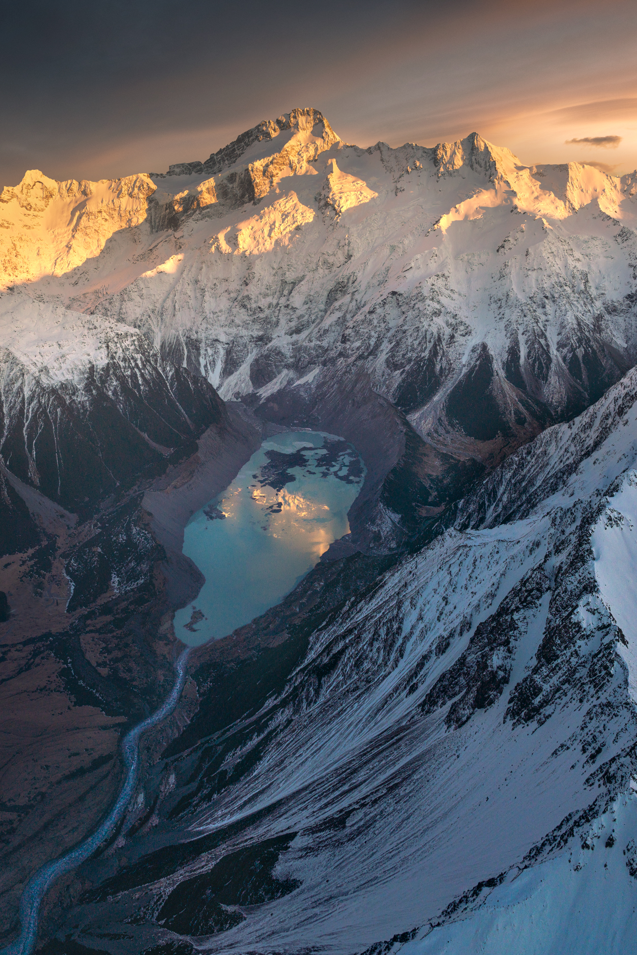 Glaciated Mountains and lake, New Zealand.