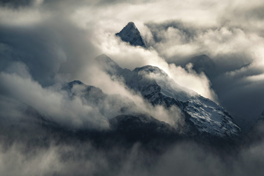 Layered mountains and atmosphere, Fiordland New Zealand. Photography by William Patino.