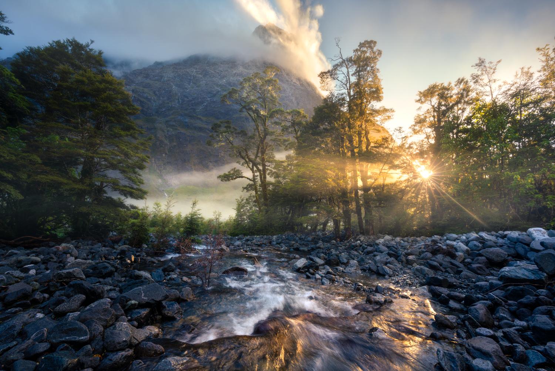 Fiordland mountain valley sunrise Copyright William Patino