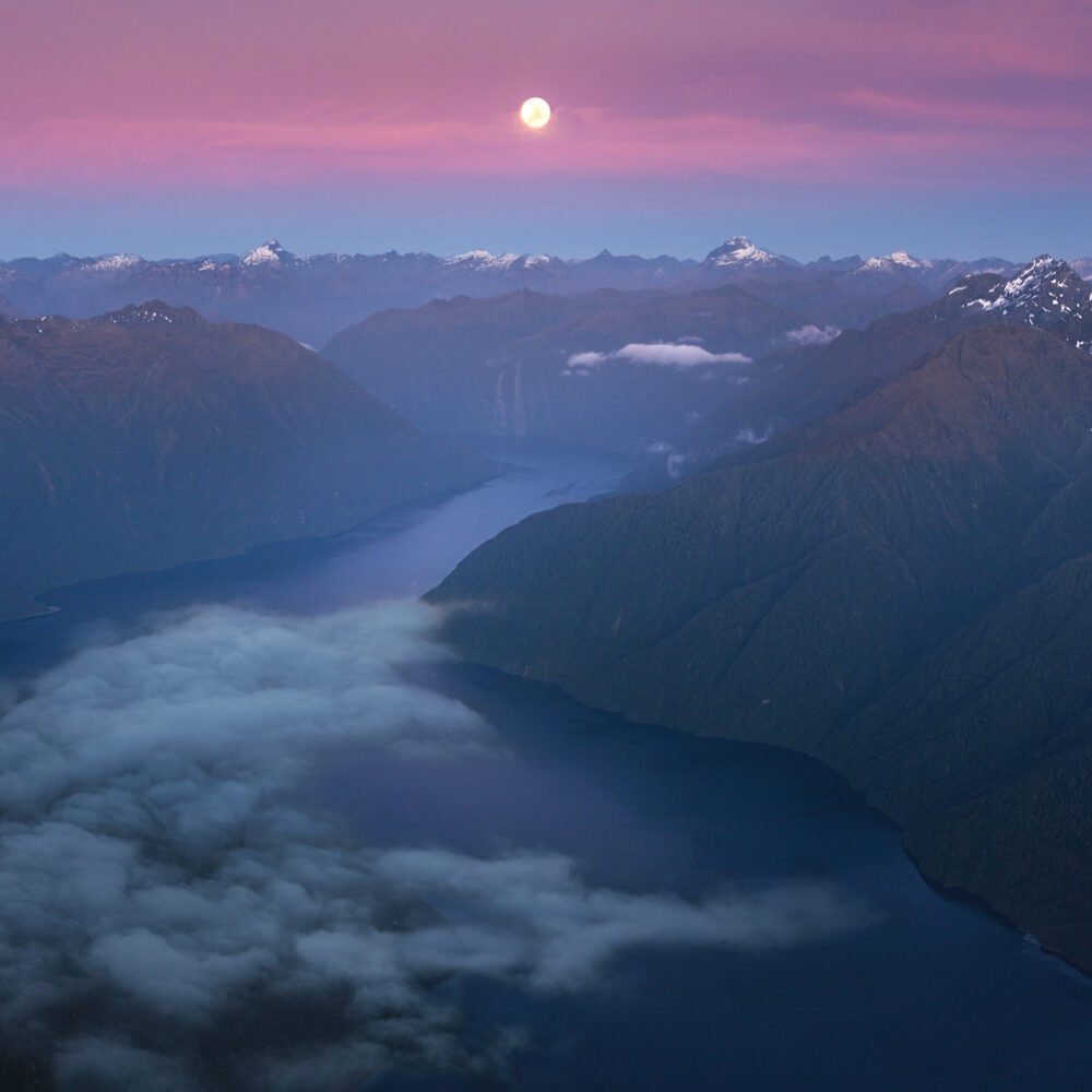 Lake Te Anau South Arm moon set, Copyright William Patino