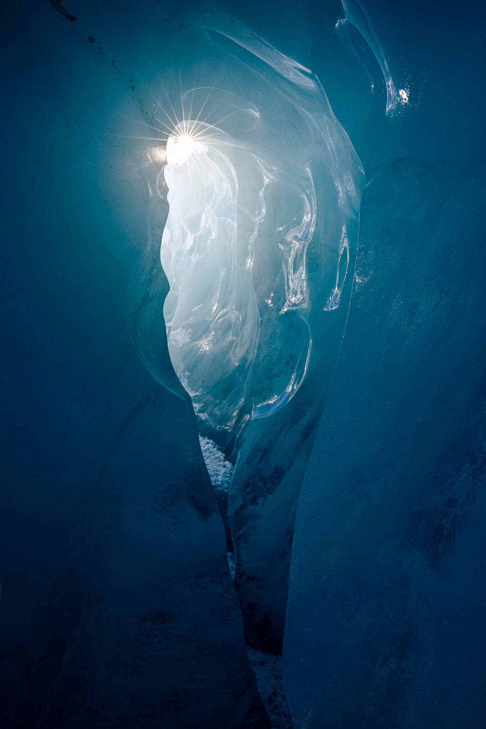 Sunlight in an ice cave, New Zealand