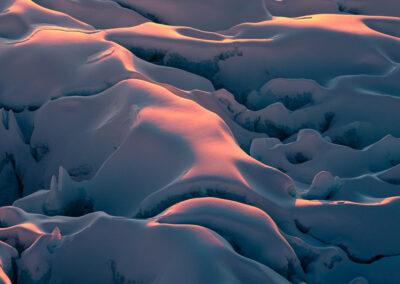 Soft sunlight across ice surface, New Zealand glaciers