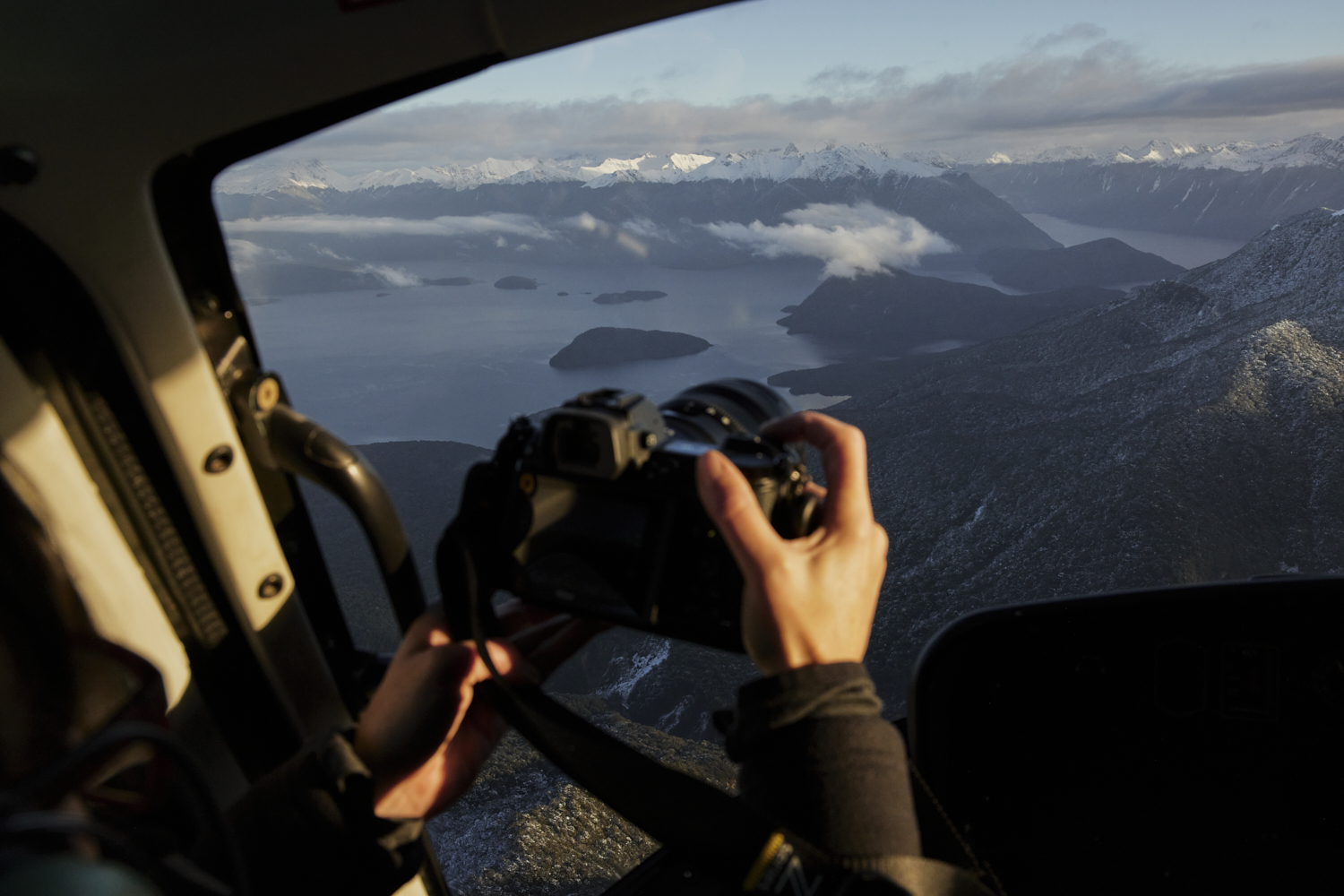 Landscape photography from a helicopter New Zealand workshop