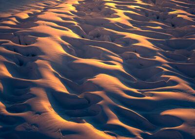 Warm soft light across a New Zealand ice field