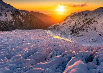 Fox glacier sunset, New Zealand, copyright William Patino