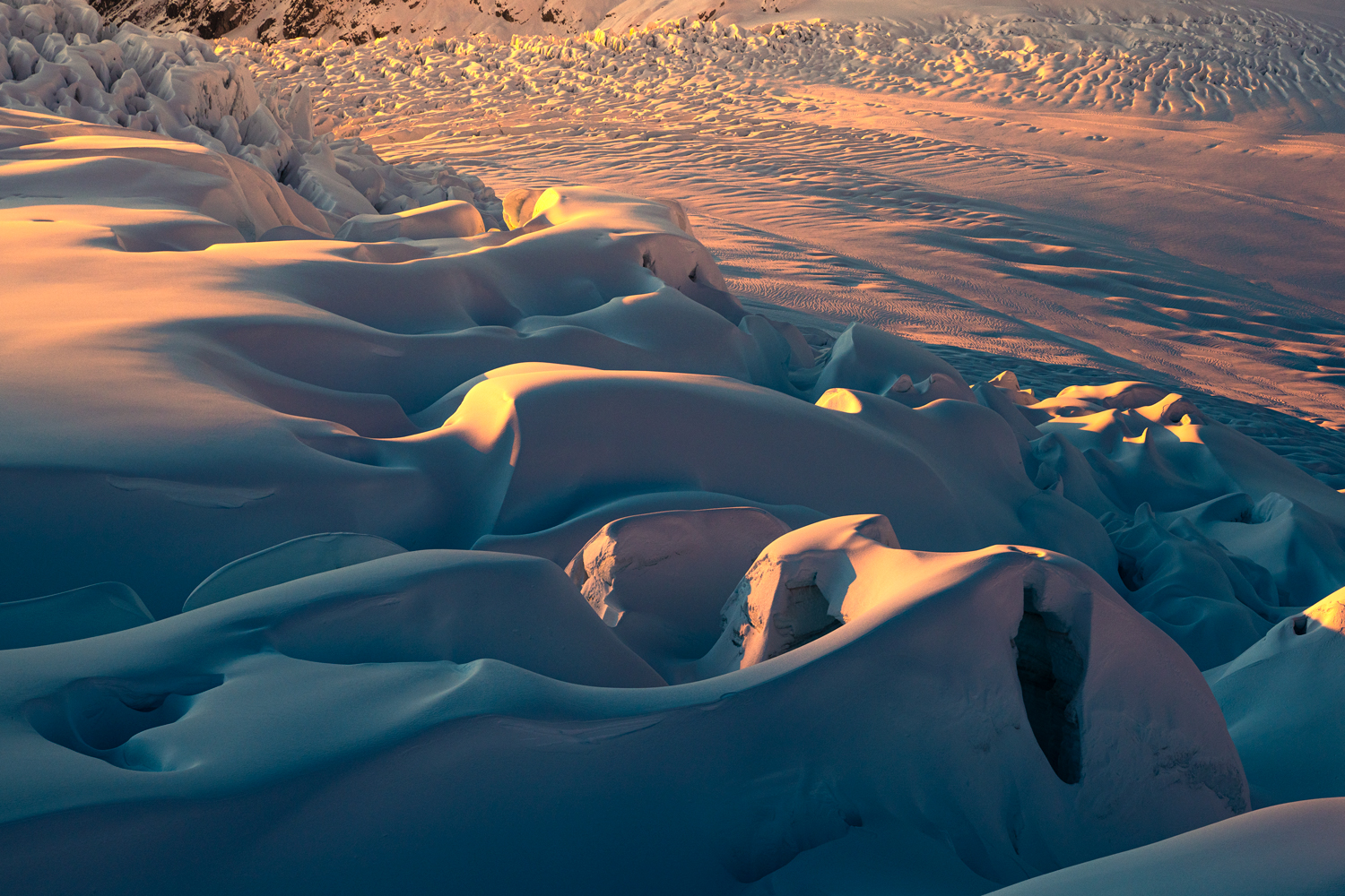 Layers of ice and snow. Fox Glacier New Zealand.