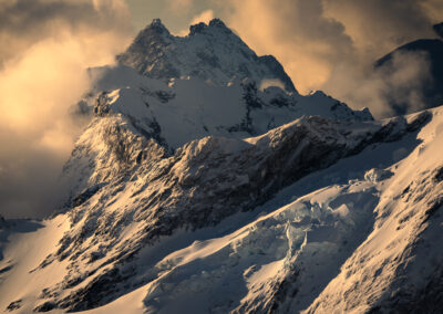 Snow capped mountains and warm light