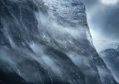 Misty valley wall Fiordland