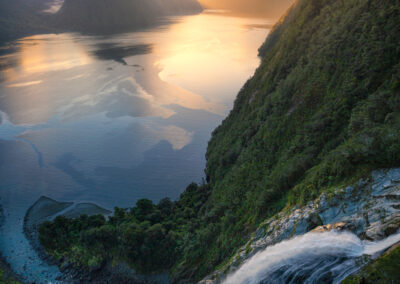 Waterfall and Fiord, New Zealand