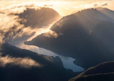 Sunset above Nancy Sound New Zealand Fiords
