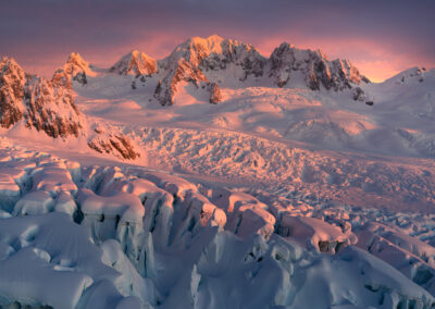 Ice field and snow covered mountains in New Zealand