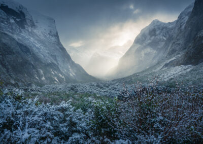 Snow covered valley, Fiordland, New Zealand