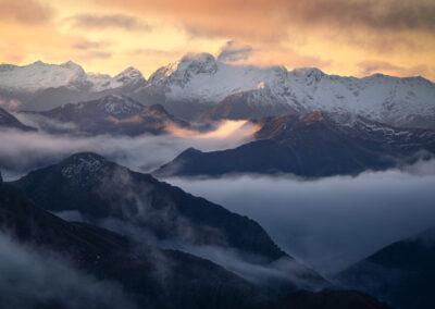 Snowy mountain layers Fiordland